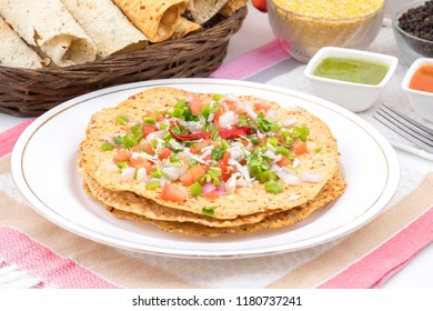 Indian Traditional started Food for lunch and Dinner Papad or Khichiya, made by black gram split and wheat flour