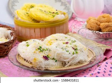 Indian Traditional Sweet Food Desi Ghee Ki Pheni Also Know as Sutarfeni, Firni, Seviyan, Laccha, Feni or Fini maid from maida, Sugar and Flavor
