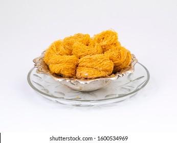 Indian Traditional Sweet Food Desi Ghee Ki Pheni Also Know as Sutarfeni, Firni, Seviyan, Laccha, Feni or Fini maid from maida, Sugar and Flavour