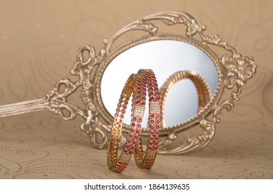 Indian traditional wedding jewellery, bangles with  mirrion and jwell box. selective focus - Shutterstock ID 1864139635