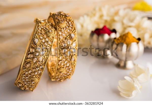 Indian Traditional Wedding Jewellery Bangles Huldi Stock Photo
