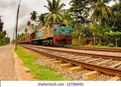 Indian train on a railway
