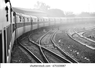 Indian train selecting track to arrive at the station