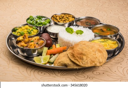Indian Veg Thali or Restaurant style complete Food platter, selective focus