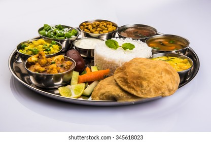 Indian Veg Thali or Restaurant style complete Food platter, selective focus
