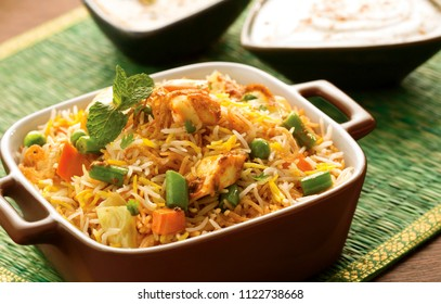 Indian vegetable biryani with curd