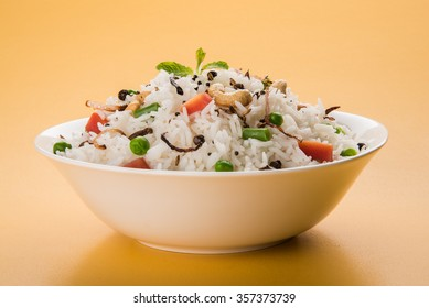 indian vegetable biryani or pulav made using basmati rice and served in a bowl, selective focus
