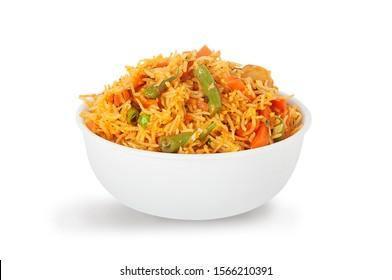 indian vegetable biryani served in white bowl - Shutterstock ID 1566210391