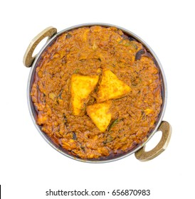 Indian Vegetarian Cuisine Kadai Paneer Also Know as Kadhai Paneer or Karahi Paneer is an Indian Dish of Marinated Paneer Cheese Served in a Spiced Gravy isolated on White Background