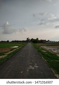 Indian village new road ,connecting village to town Kanpur , Uttar Pradesh dated 29 July 2019.