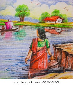 Indian Village Watercolor Paintings