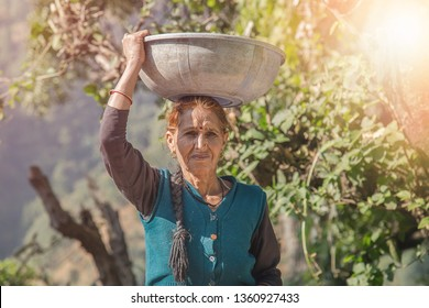 Indian village woman in colorful sari carries heavy basket on her head