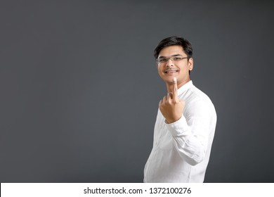 Indian voter showing finger