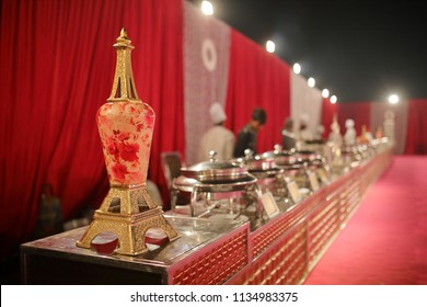Indian Wedding. Banquet setup, Wedding Day Covered With Flower Decoration