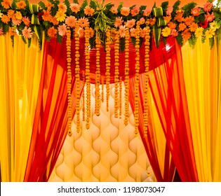 indian wedding decoration.indian wedding set, a mandap for hindu wedding celebration.