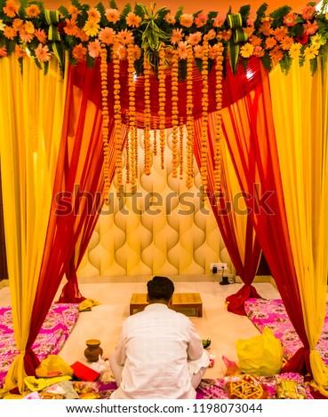 Indian Wedding Decorationindian Wedding Set Mandap Stock Photo Edit