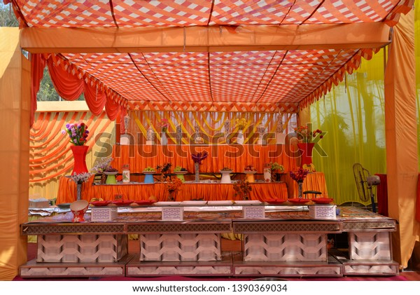 Indian Wedding Palace Red Yellow Colour Stock Photo Edit Now 1390369034