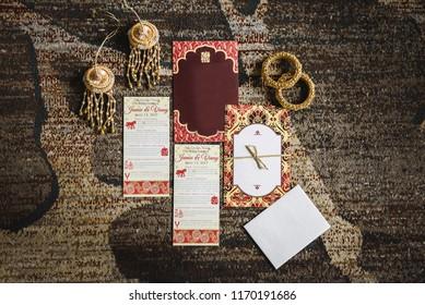 Indian wedding programs and invitations closeup Karachi, Pakistan, August 01, 2018