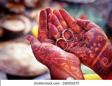 Indian wedding rituals with rings on hands