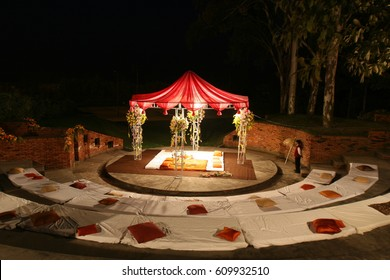 indian wedding set, a mandap for wedding celebration