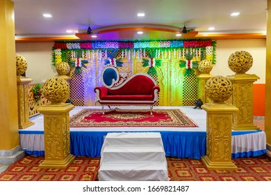 Indian Wedding Stage.Indian beautiful marriage decoration with flowers