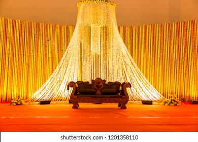 Indian Wedding Stage.Indian wedding decoration. Indian beautiful marriage decoration with flowers