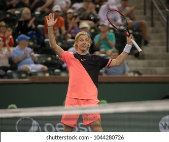 INDIAN WELLS, CA - MAR 05-18: Denis Shapovalov at the BNP PARIBAS OPEN Tennis Tournament in Indian Wells, CA on March 08, 2018