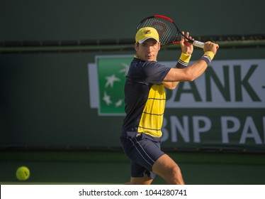 INDIAN WELLS, CA - MAR 05-18: Dusan Lajovic at the BNP PARIBAS OPEN Tennis Tournament in Indian Wells, CA on March 08, 2018