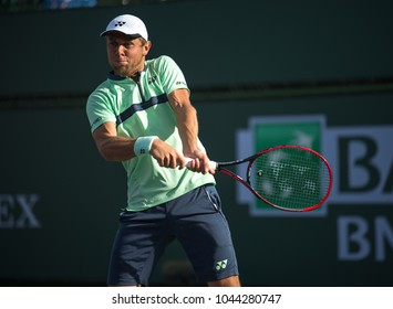 INDIAN INDIAN WELLS, CA - MAR 05-18: Radu Albot at the BNP PARIBAS OPEN Tennis Tournament in Indian Wells, CA on March 08, 2018