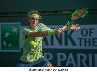 INDIAN WELLS, CA - MAR 05-18:  Stefanos Tsitsipas at the BNP PARIBAS OPEN Tennis Tournament in Indian Wells, CA on March 08, 2018