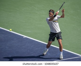 INDIAN WELLS, CA - MAR 05-18:  Roger Federer at the BNP PARIBAS OPEN Tennis Tournament in Indian Wells, CA on March 12, 2018