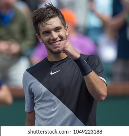 INDIAN WELLS, CA - MAR 05-18: Borna Coric at the BNP PARIBAS OPEN Tennis Tournament in Indian Wells, CA on March 14, 2018