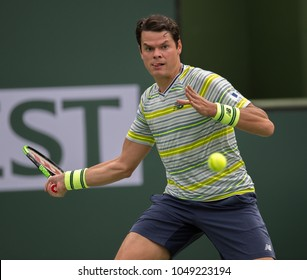 INDIAN WELLS, CA - MAR 05-18: Milos Raonic at the BNP PARIBAS OPEN Tennis Tournament in Indian Wells, CA on March 13, 2018
