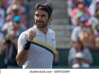 INDIAN WELLS, CA - MAR 05-18: Roger Federer playing the title match at the BNP PARIBAS OPEN Tennis Tournament in Indian Wells, CA on March 18, 2018