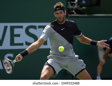INDIAN WELLS, CA - MAR 05-18: Juan Martin del Potro playing the title match at the BNP PARIBAS OPEN Tennis Tournament in Indian Wells, CA on March 18, 2018