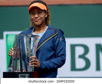 INDIAN WELLS, CA - MAR 05-18: Naomi Osaka playing the title match at the BNP PARIBAS OPEN Tennis Tournament in Indian Wells, CA on March 18, 2018