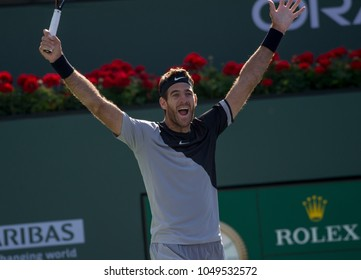INDIAN WELLS, CA - MAR 05-18: Juan Martin del Potro winning the title match at the BNP PARIBAS OPEN Tennis Tournament in Indian Wells, CA on March 18, 2018