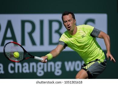 INDIAN WELLS, CA - MAR 05-18: Philipp Kohlschreiber at the BNP PARIBAS OPEN Tennis Tournament in Indian Wells, CA on March 16, 2018