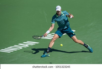 INDIAN WELLS, CA - MAR 05-18: Kevin Anderson at the BNP PARIBAS OPEN Tennis Tournament in Indian Wells, CA on March 15, 2018