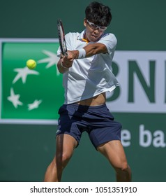 INDIAN WELLS, CA - MAR 05-18: Hyeon Chung at the BNP PARIBAS OPEN Tennis Tournament in Indian Wells, CA on March 14, 2018