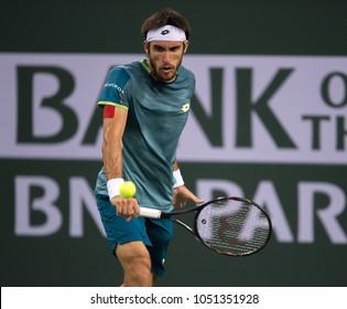 INDIAN WELLS, CA - MAR 05-18: Leonardo Mayer at the BNP PARIBAS OPEN Tennis Tournament in Indian Wells, CA on March 14, 2018