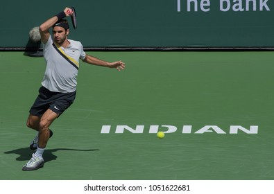 INDIAN WELLS, CA - MAR 05-18: Roger Federer at the BNP PARIBAS OPEN Tennis Tournament in Indian Wells, CA on March 17, 2018