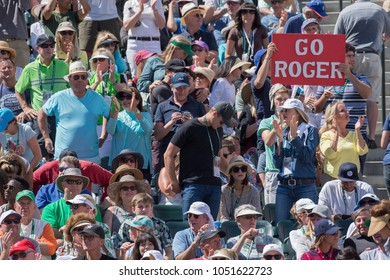 INDIAN WELLS, CA - MAR 05-18: Swiss Fans cheering for Roger Federer at the BNP PARIBAS OPEN Tennis Tournament in Indian Wells, CA on March 17, 2018