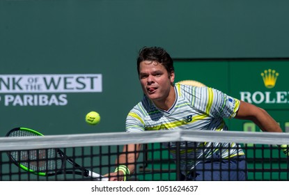 INDIAN WELLS, CA - MAR 05-18: Milos Raonic at the BNP PARIBAS OPEN Tennis Tournament in Indian Wells, CA on March 17, 2018