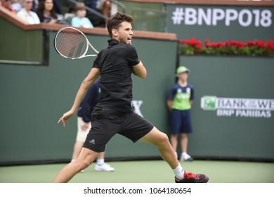 INDIAN WELLS - MARCH 10: Dominic Thiem (AUT) competes in round 2 at the BNP Paribas Open on March 10, 2018 in Indian Wells, CA.