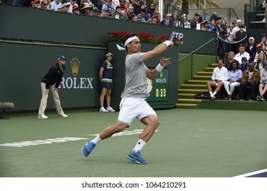 INDIAN WELLS - MARCH 10: Fabio Fognini (ITA) competes in round 2 at the BNP Paribas Open on March 10, 2018 in Indian Wells, CA.