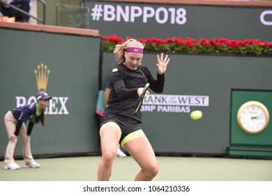 INDIAN WELLS - MARCH 10: Kiki Bertens (NED) competes in round 2 at the BNP Paribas Open on March 10, 2018 in Indian Wells, CA.