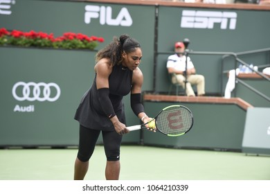 INDIAN WELLS - MARCH 10: Serena Williams (USA) competes in round 2 at the BNP Paribas Open on March 10, 2018 in Indian Wells, CA.