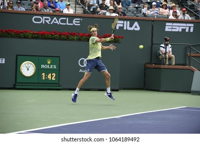 INDIAN WELLS - MARCH 10: Stefanos Tsitsipas (GRE) competes in round 2 at the BNP Paribas Open on March 11, 2017 in Indian Wells, CA.