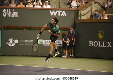 INDIAN WELLS - MARCH 12:  Roger Federer competes against Stephane Robert in round 2 at the BNP Paribas Open on March 12, 2017 in Indian Wells, CA.